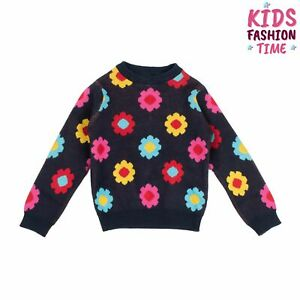 MARGHERITA Jumper Size 9-12M Thin Knit Floral Pattern Long Sleeve Crew Neck