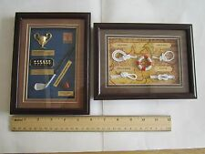2/LOT SALE NEW: NICE FRAMED SHADOW BOX With Glass-Old GOLF THEME & Sailors Knots