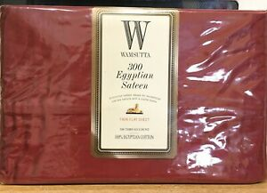 Wamsutta 300 Thread Count Egyptian Cotton Sateen Twin Flat Sheet New Scarlet Red