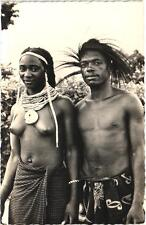 Africa black nude woman ethnic original c1950s photo art postcard