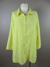 Alfred Dunner Size 18W Womens Yellow Floral Button Down V-Neck 3/4Sleeve Top 349