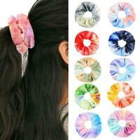 13Colors Soft Chiffon Velvet Satin Hair Scrunchie Floral Grip Holder. Loop E6P9