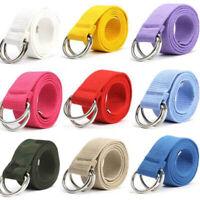 Fashion Men/'s Unisex Casual Double D-Ring Metal Waist Waistband Canvas Belt