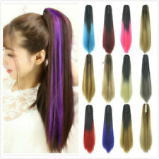 24'' Colorful Claw Clips in Ponytail Straight Ombre Hair Extensions Drawstring
