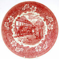 Vintage Royal Tudor Ware Coaching Taverns Inns Red White Dinner Plate
