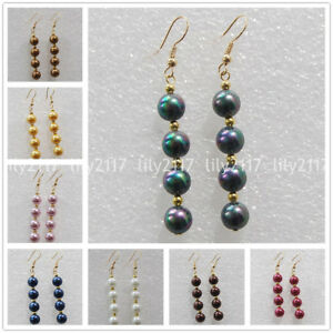 11 Colors 8/10/12mm South Sea Shell Pearl Round Beads Gold Hook Dangle Earrings