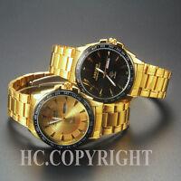 Men's Luxury Stainless Steel Black/Gold Big Dial Quartz Casual Dress Wrist Watch