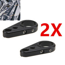 "2 X 25mm 1"" Black Frame Handlebar Clutch Cable Brake Line Clamp For Harley"