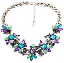 Flower Cluster Jewelery Choker Women's Pendant Necklace Rhinestone Spring Bib