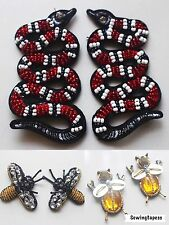 Set of 6 Rhinestones Beaded Mini Snake Bee Embroidered Applique DIY Sew On Patch