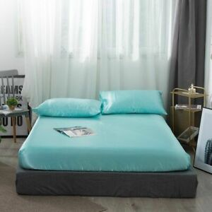 Satin Silk Fitted Bed Sheet Queen King Silk Bedsheet Bedding Protective Covers