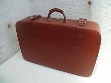 Ancienne valise avec ses clés (2) en skaï marron années 60/70