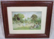 """Print/Paint Play Tennis Scene People In The Park 9½""""X 7½"""" Signed Art Work Framed"""