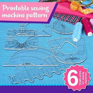6x Quilting Template Free Motion Acrylic Quilting Frame Ruler For Sewing Machine