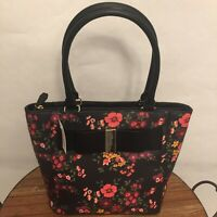 APT. 9 BROOKLYN BOW TOTE PURSE BLACK FLORAL NEW WITH TAGS HAP83TO14A5