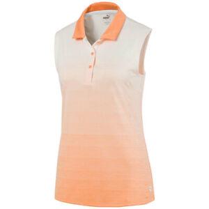 NWT Women's Puma Ombre Sleeveless Golf Polo XS Cantaloupe stripe 595830 07 NEW