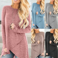 ❤️ Women's Long Sleeve Irregular T-shirt Tunic Tops Casual Loose Blouse Pullover