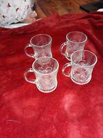 Vtg Glcoloc set of 4 clear flower Canterbury Crocus glass glasses mugs cups set
