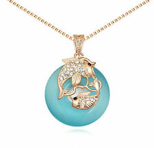 18K Rose Gold GP Blue Cat Eye Stone Swarovski Crystal Pendant Pisces Necklace
