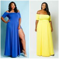 Plus Size Maxi Romper Sleeve Bodycon Midi Dress 1X/2X/3X