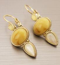 Stone Dangle Gold Pierced Earrings Liz Claiborne Cream White Pearlescent Three