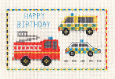 FIRE ENGINE, POLICE, EMERGENCY SERVICES, counted cross stitch kit Birthday Boy