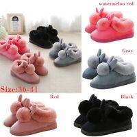 Women Plush Bunny Rabbit Warm Indoor Slippers Slip On Home Shoes Winter Comfort