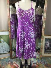 Vintage Murray Misner Purple Floral Pinup Rockabilly Swing Sun Dress Size S/M