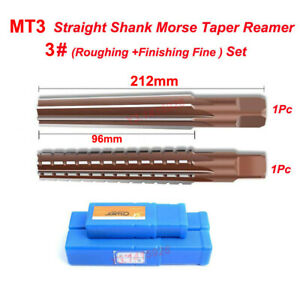 2Pcs MT3 Straight Shank Morse Taper Reamer Set 3# Roughing+Finishing Reamer Tool