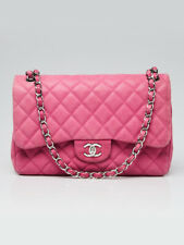 Chanel Pink Quilted Matte Caviar Leather Classic Jumbo Double Flap Bag
