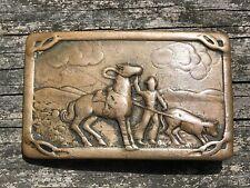 Vintage Copper Belt Buckle Horse Cowboy Calf Roping Belt Buckle Rodeo