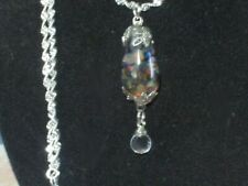 OPAL NECKLACE PENDANT  POOLS OF LIGHT FLOATING AUSTRALIAN OPALS IN  ROCK CRYSTAL