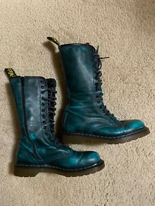 Dr. Martens 10183 Green 14-Eyelet Zip Up Knee Combat Boots US 8 Womens Doc blue
