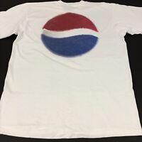 Vintage Pepsi Cola Shirt Mens Size L/XL Cotton White Single Stitch Made in USA