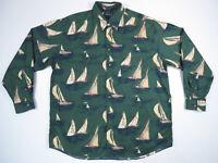Vintage Nautica Sailing Sailboat All Over Print Long Sleeve Button Down Shirt XL