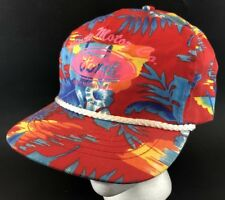 Vtg Ford Snapback Hat Hawaiian Print Floral Cap Car truck Dealer Minot ND 80s