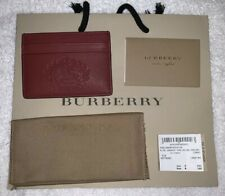 BURBERRY CRIMSON SANDON EMBOSSED CREST LEATHER CARD CASE 40778381
