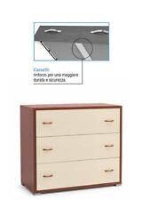 Como' maxy con 3 cassetti moderno per camera da letto col.ciliegio e avorio