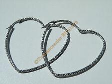 Boucles d'Oreilles Créoles Forme Coeur Tréssé 60 mm Pur Acier Inoxydable Argenté