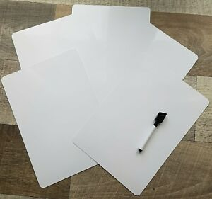 Reusable blank whiteboards/ flashcards 3 sizes available with dry wipe pen.