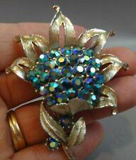 Signed CORO Aurora Borealis Sunflower Brooch