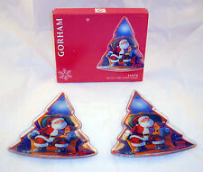 New Gorham Crystal 2 Santa Plates Christmas Tree Shaped Holiday Mint Candy Dish