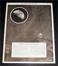 1919 OLD MAGAZINE PRINT AD, EASTMAN KODAK PHOTOGRAPHY, PALOMAR OBSERVATORY ART!