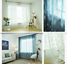 2m x 2.7m Embroidery Leaves Quality Doris Fabric Window Curtain Rod Pocket