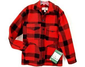 Filson Mackinaw Coat Size 42 W/ Tags - Red & Black 100% Wool - USA Made Men's L