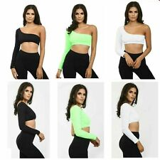 New Womens One Shoulder Long Sleeve Ribbed Clubwear Summer Ladies Party Crop Top