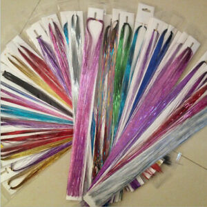 100x Highlights Party Strands Hair Tinsel Sparkle Holographic Glitter Extensions