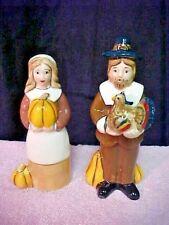 Blue Sky Clayworks Heather Goldminc Thanksgiving Pilgrims Salt And Pepper Set