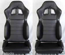 NEW 2 BLACK PVC LEATHER RACING SEATS + SLIDER RECLINABLE ALL TOYOTA *
