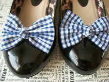 PAIR BLUE GINGHAM CHECK SHOE BOW CLIPS VINTAGE STYLE CUTE RETRO BOWS HANDMADE